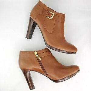 RALPH LAUREN Maleah Zip/Buckle Heeled Leather Boots, size 10B
